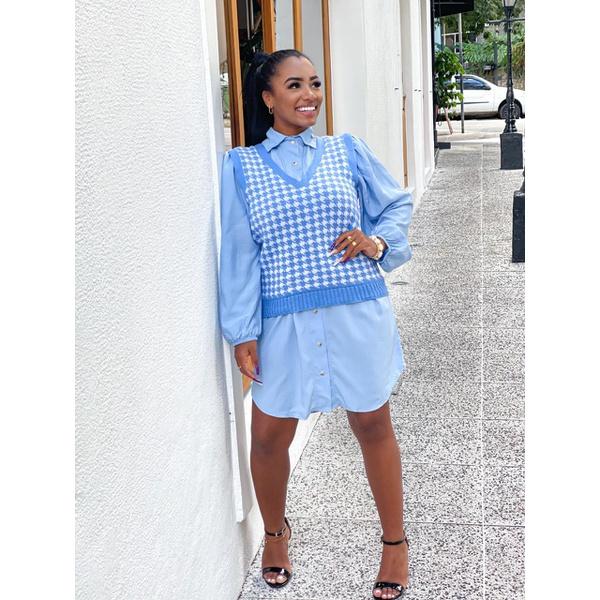 Colete Pulôver Feminino Pied Poule Tricô Modal Xadrez azul