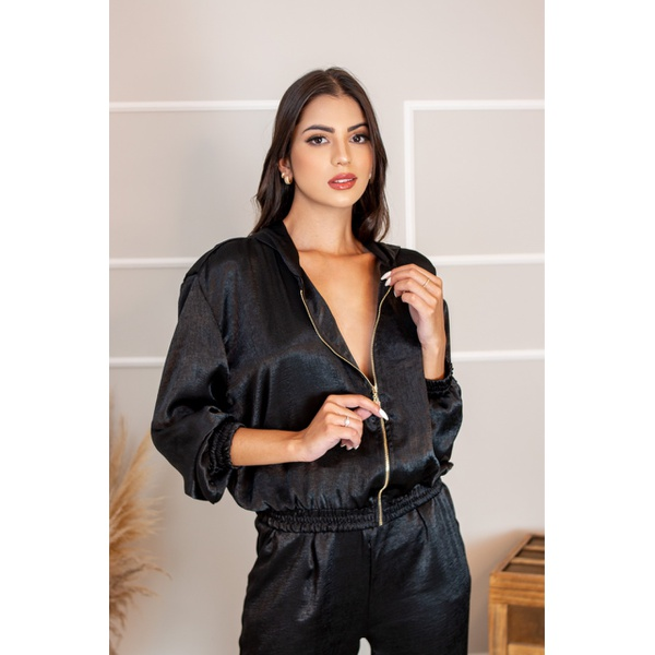 Conjunto Plush Feminino Veludo Calça E Blusa Com Touca Zíper