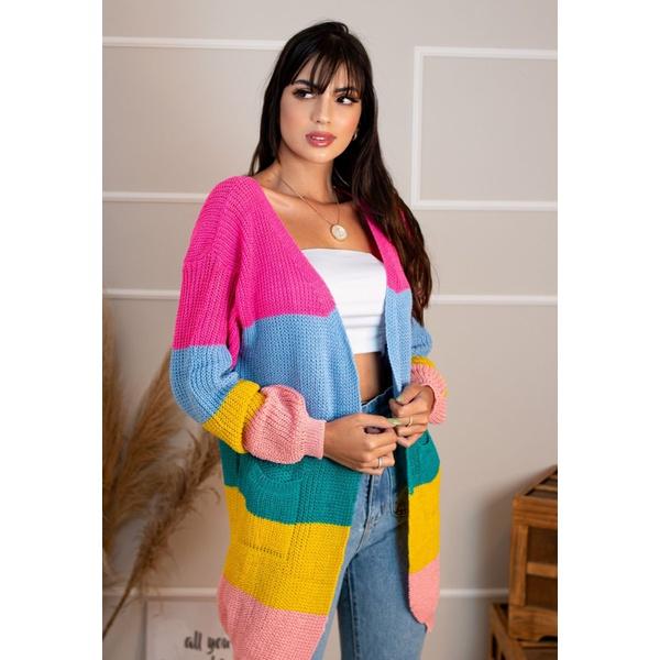 Kimono Cardigan Barbie Sueter Tricô Colorido Neon Arco Iris Inverno 2019