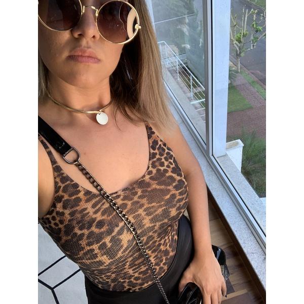 Regata Feminina Oncinha Com Alcinha Fina Bloguer