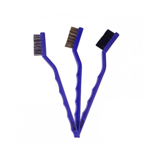 Kit com 3 Escovas para Detalhamento Automotivo (Nylon, Latão e Aço Inoxidável) Vonixx