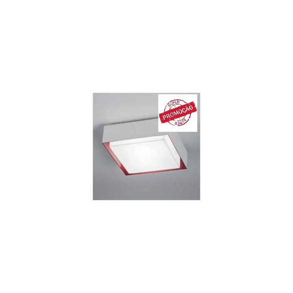 Plafonier Branco com Vermelho 25 Cm TY-250 100/2 para 2 Lâmpadas.