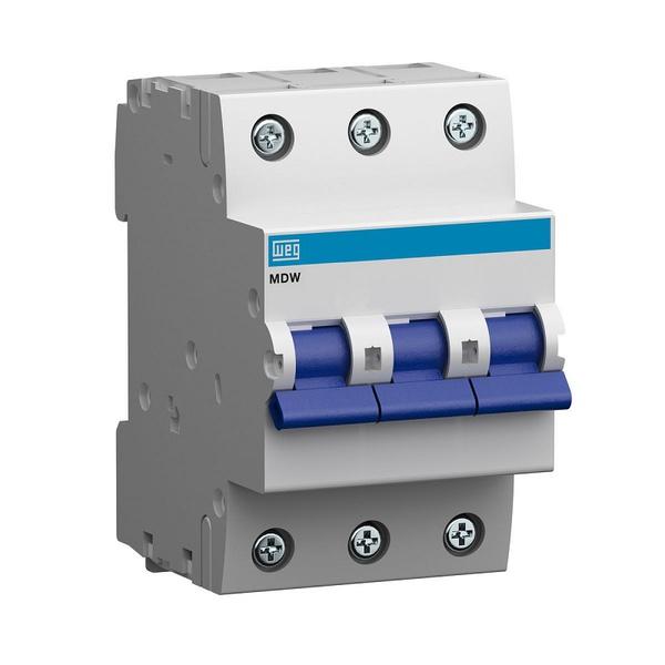 Mini Disjuntor Termomagnético Tripolar 70A/C MDW-C70-3 11134791 - WEG