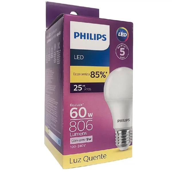 Lâmpada Led Bulbo 9W 30000K Bivolt (Luz Branca Quente) - PHILIPS