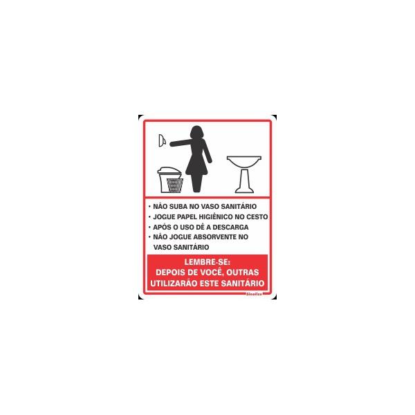 "Placa Poliestireno 15x20 ""PROCEDIMENTOS SANITÁRIO FEMININO"" - SINALIZE"