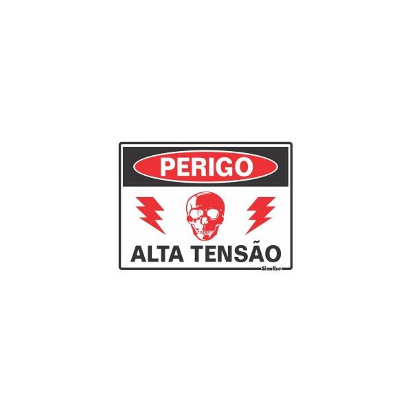 """Placa em Poliestireno 15x20 """"PERIGO ALTA TENSÃO"""" 220bE - SINALIZE"""