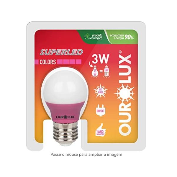 Lâmpada Superled S30 Colors 3W Bivolt ROSA 05430 - OUROLUX