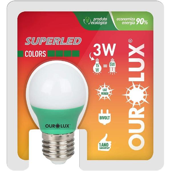 Lâmpada Superled S30 Colors 3W Bivolt VERde 05431 - OUROLUX