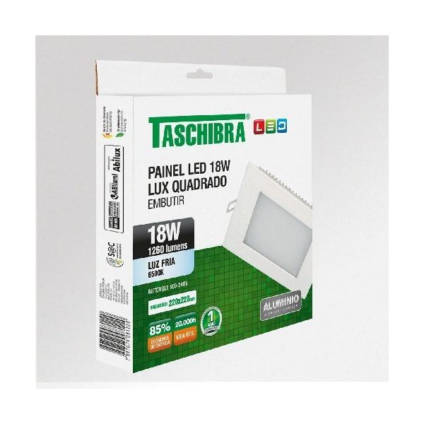 Painel Led Embutir Quadrado 18W Bivolt 6500K 18122 - TASCHIBRA