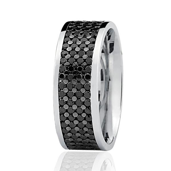 Aliança de Ouro Branco 18K com Diamantes e Ródio Negro