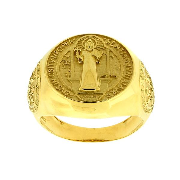 Anel de Ouro 18K Imagem de São Bento