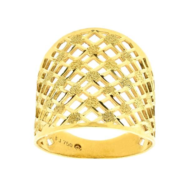 Anel de Ouro 18K Feminino Vazado Detalhe Fosco