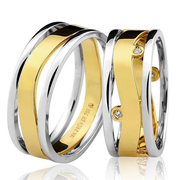 PAR de Aliança Bruner com Brilhantes Bicolor Ouro 18K