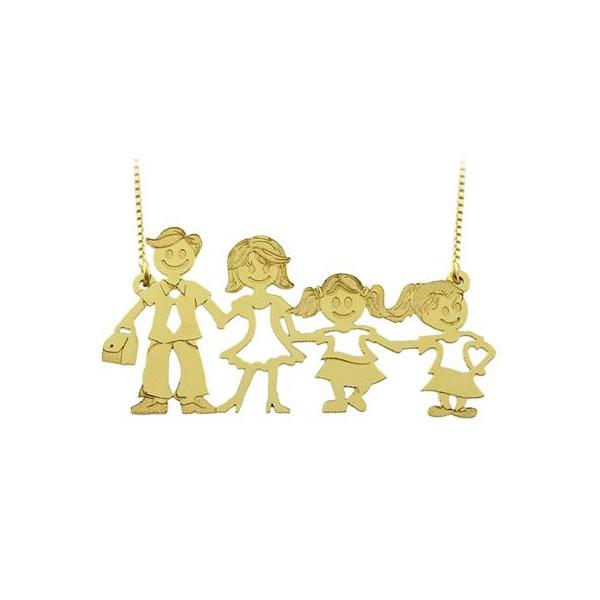Gargantilha com Pingente em Ouro 18k Família Feliz Casal com Filhas
