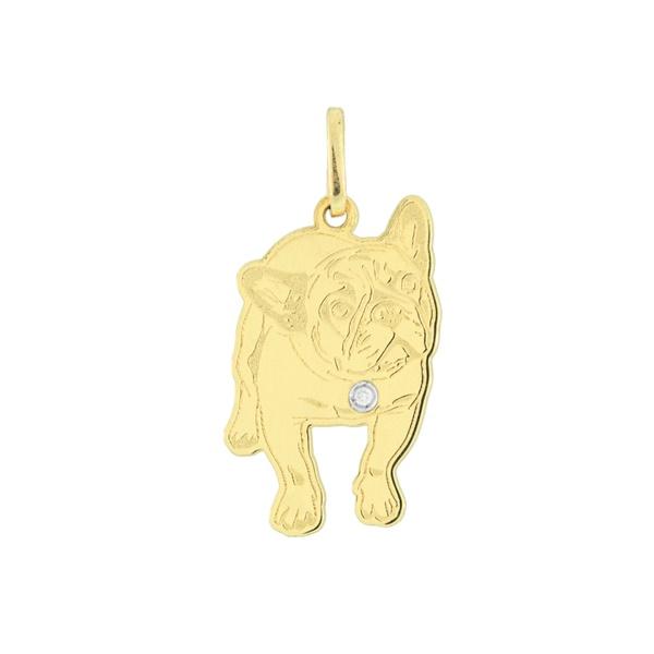 Pingente Cachorro Bulldog Francês em Ouro 18K