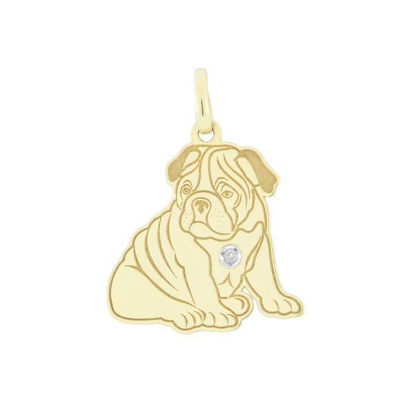 Pingente Cachorro Bulldog em Ouro 18K
