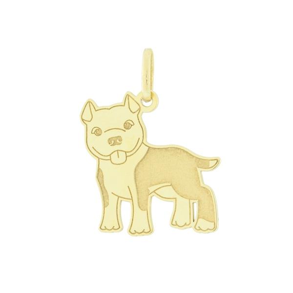 Pingente Cachorro Pitbull em Ouro 18K
