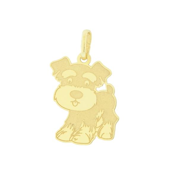 Pingente Cachorro Schnauzer em Ouro 18K