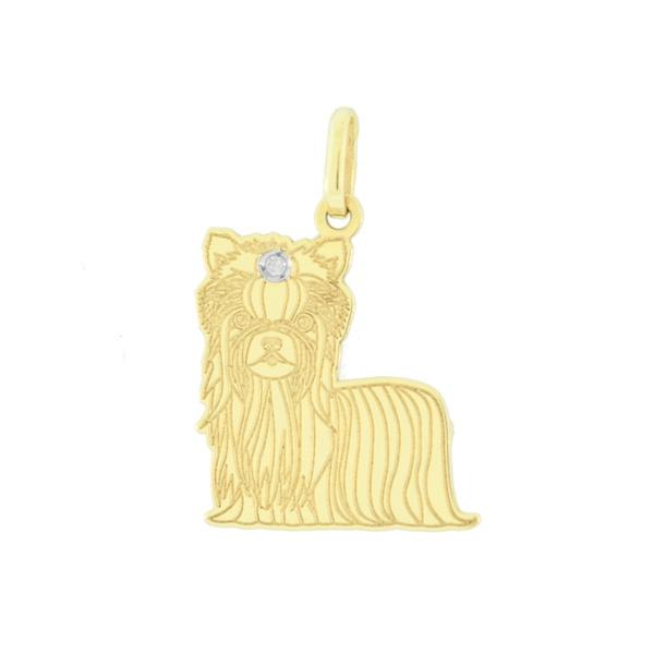 Pingente Cachorro Yorkshire em Ouro 18K
