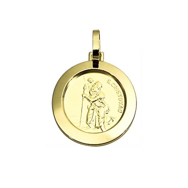 Pingente Medalha São Cristóvão em Ouro 18K