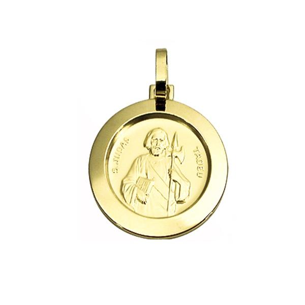 Pingente Medalha São Judas Tadeu em Ouro 18K