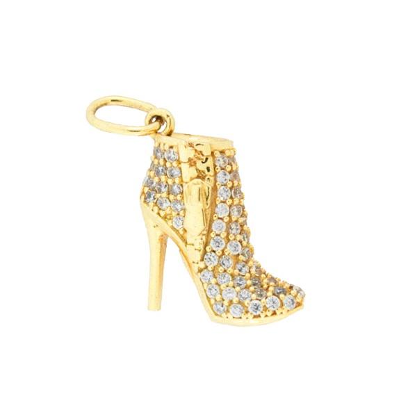 Pingente Sapato Bota com Zirconias em Ouro 18K