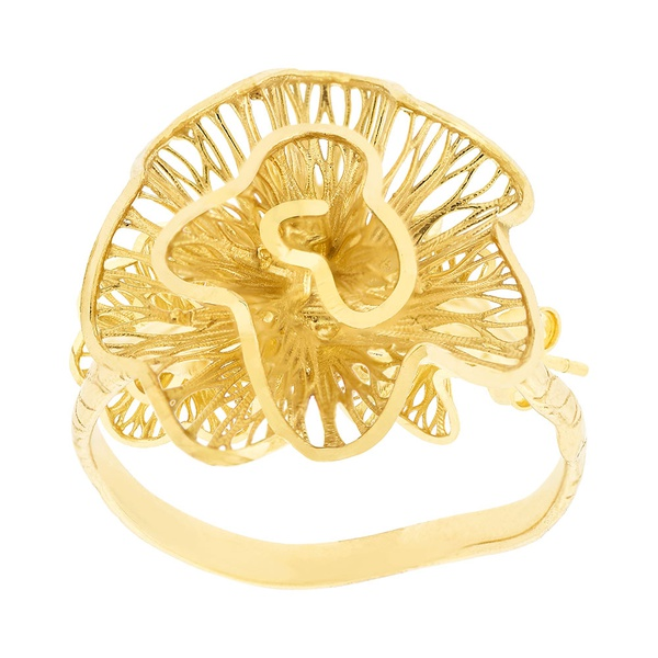Anel de Flor em Ouro 18K Pétalas Onduladas Vazadas