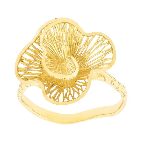Anel de Flor em Ouro 18K Pétalas Onduladas Menor