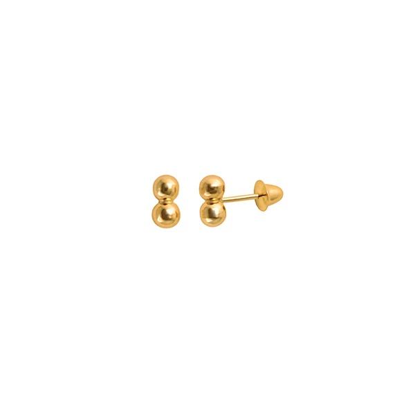 Brinco Infantil de Bolinha Ouro 18K