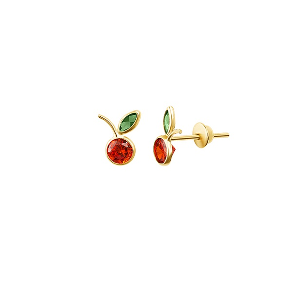 Brinco Infantil Frutinha com Zirconias em Ouro 18K MI10304