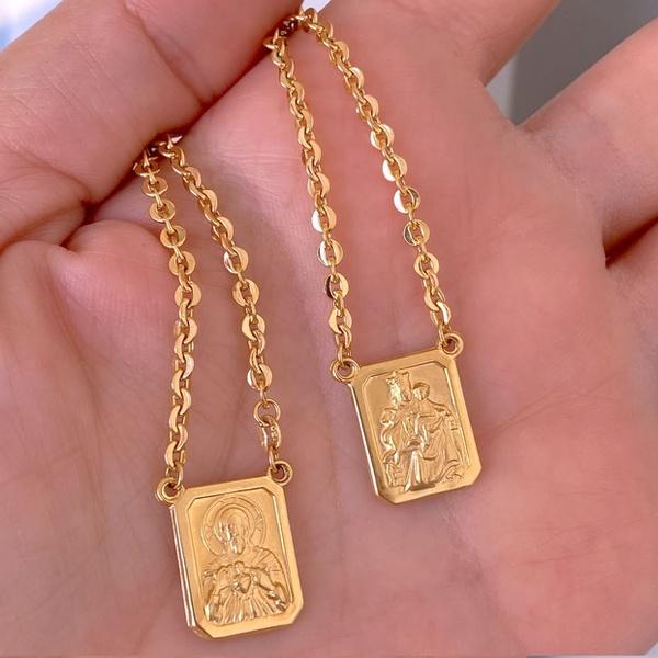 Escapulário Corrente Grossa e Placa Dupla de Ouro 18K 60cm