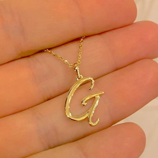 Pingente de Letra G de Ouro 18K Feminino
