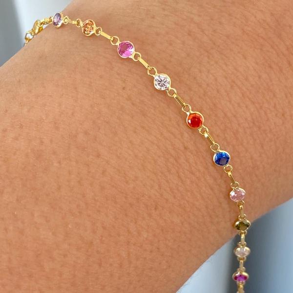 Pulseira Infantil Pedras Zirconias Coloridas Ouro 18K