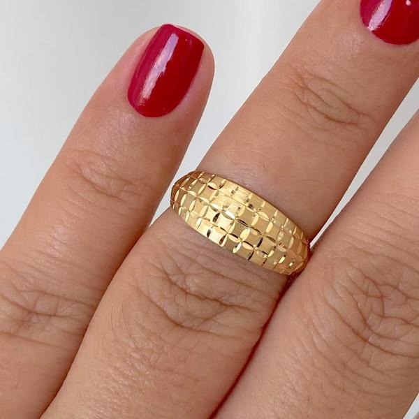 Anel de Ouro 18K Fosco e Diamantado