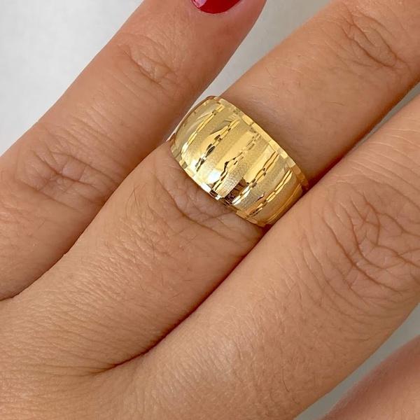 Anel de Ouro 18K Estampado Diamantado e Fosco