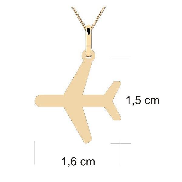 Pingente Personalizado de Avião em Ouro 18K