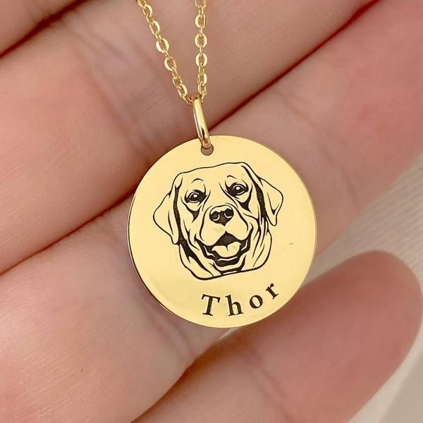 Pingente Cachorro Labrador em Ouro 18K com Nome Personalizável