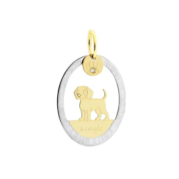 Pingente Cachorro Beagle Bicolor em Ouro 18K