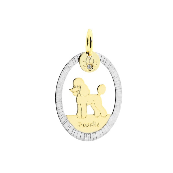 Pingente Cachorro Poodle Bicolor em Ouro 18K