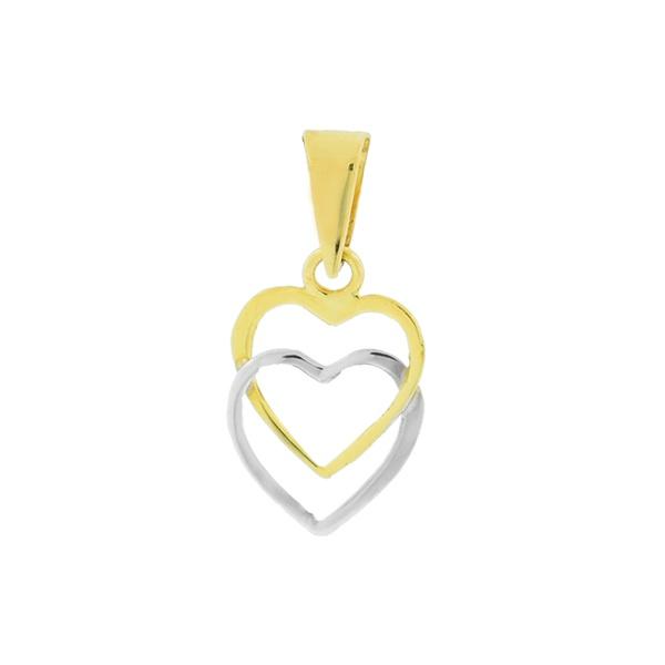 Pingente Corações Entrelaçados Bicolor Ouro 18K