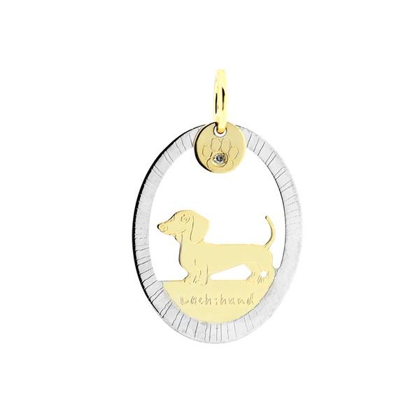 Pingente Cachorro Dachshund Bicolor em Ouro 18K