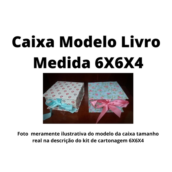 KITS DE CARTONAGEM PARA CAIXA LIVRO TAMANHO 6X6X4 - 5 KITS
