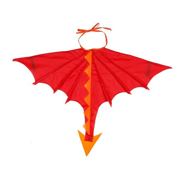 fantasia asa dragão vermelho e laranja