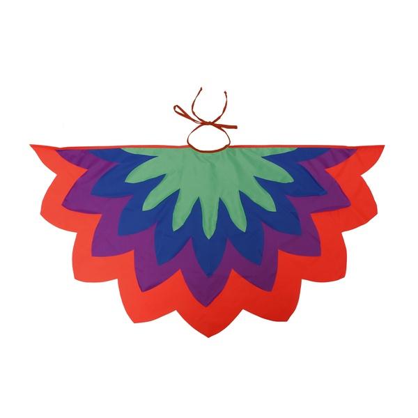fantasia asa pássaro laranja, roxo, azul e verde