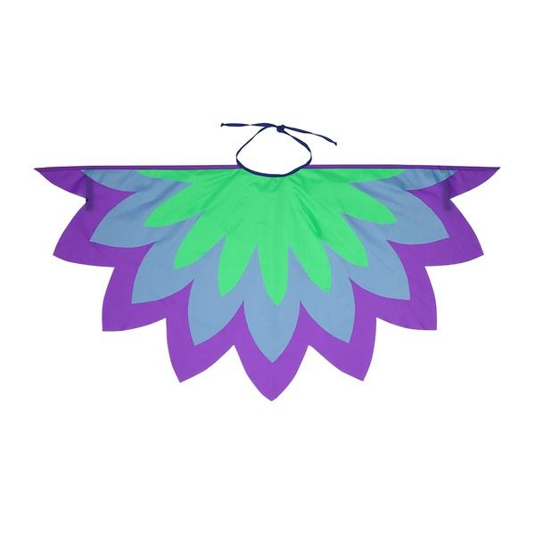 Fantasia asa pássaro roxo, azul e verde