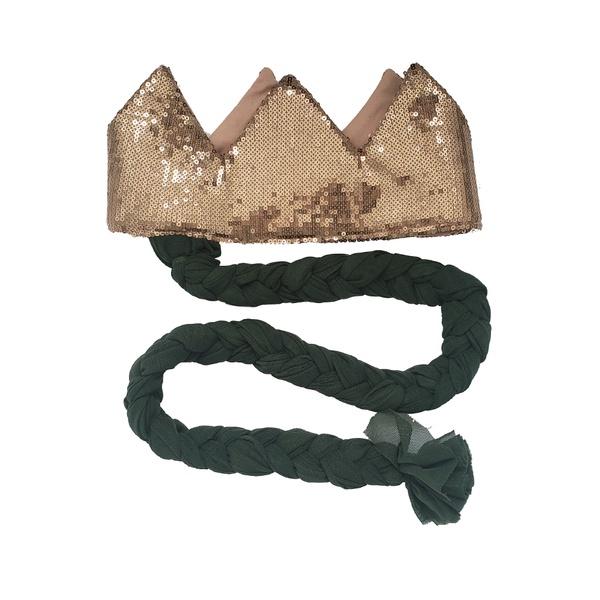 Coroa com trança Nude brilho e verde