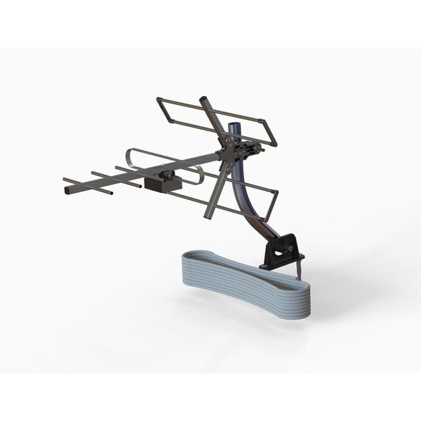 Kit Antena Digital Yagi com Mastro e Cabo 10m