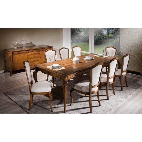 Sala de jantar Com Mesa De 2,50m, 8 Cadeiras e Balcão - Linha Hillux