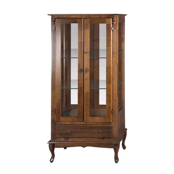 Vitrine 2 Portas, 3 Gavetas com espelho e Prateleiras de vidro - Pés Luiz XV