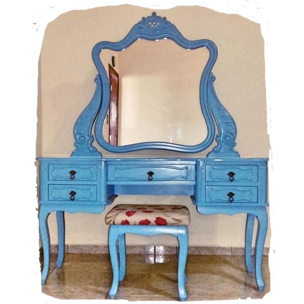 Penteadeira Azul Provençal Madeira Maciça Com Banqueta Almofadada